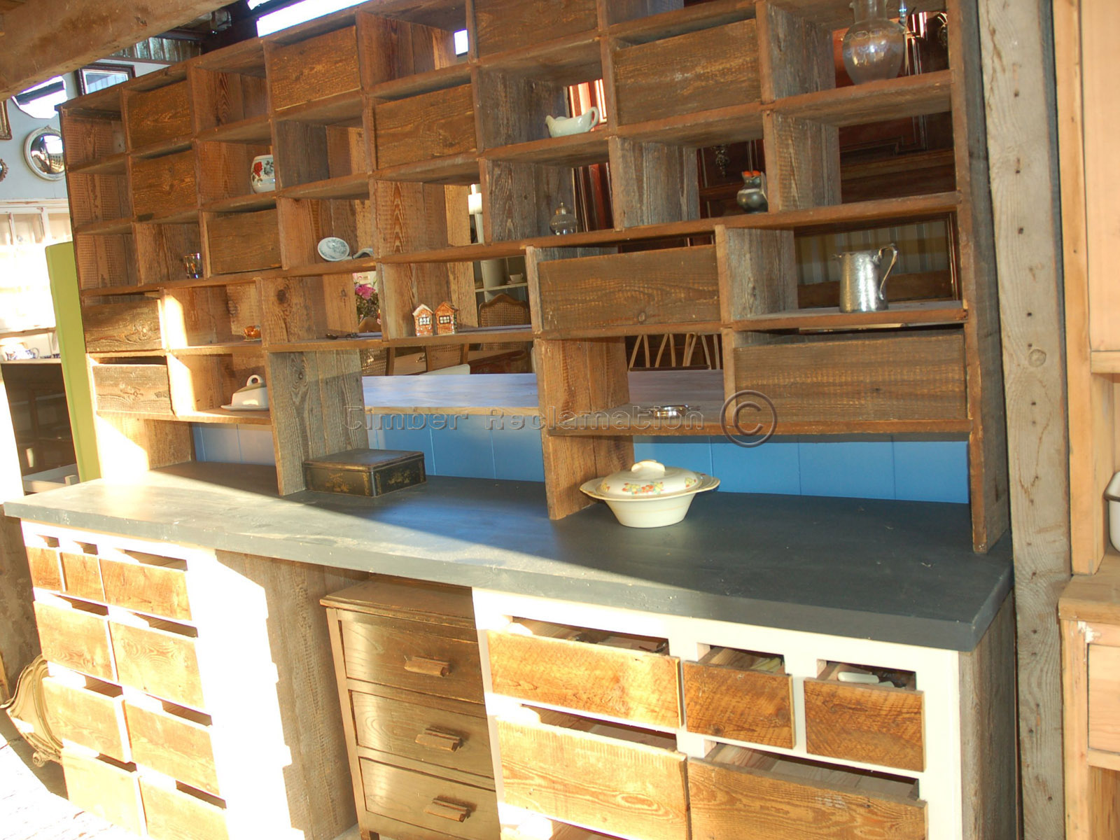 pigeon hole dresser crafted from reclaimed pine with a natur